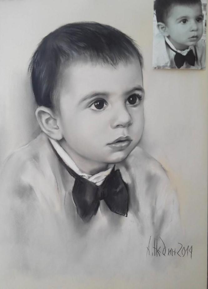 портрет на момче -графика-Ангелина Недин