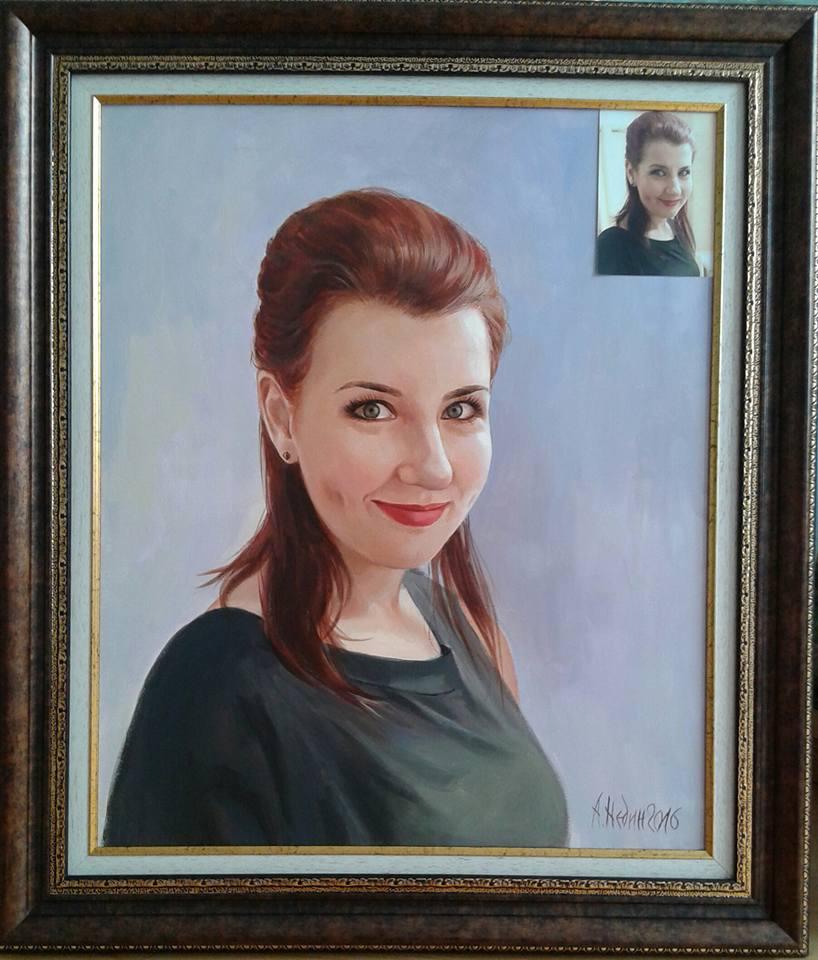 Портрет по Снимка Маслени Бои Ангелина Недин