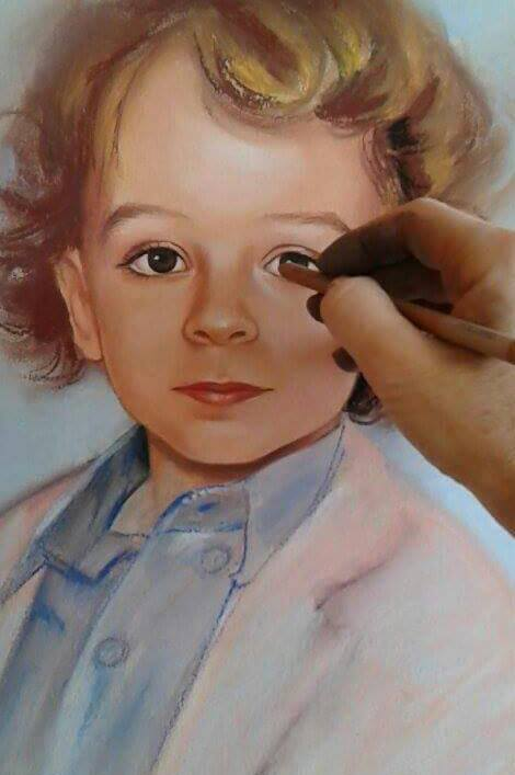 Детски портрет по снимка сух пастел Ангелина Недин