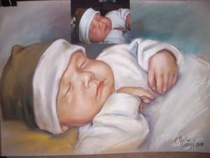 портретна бебе сух пастел от снимка
