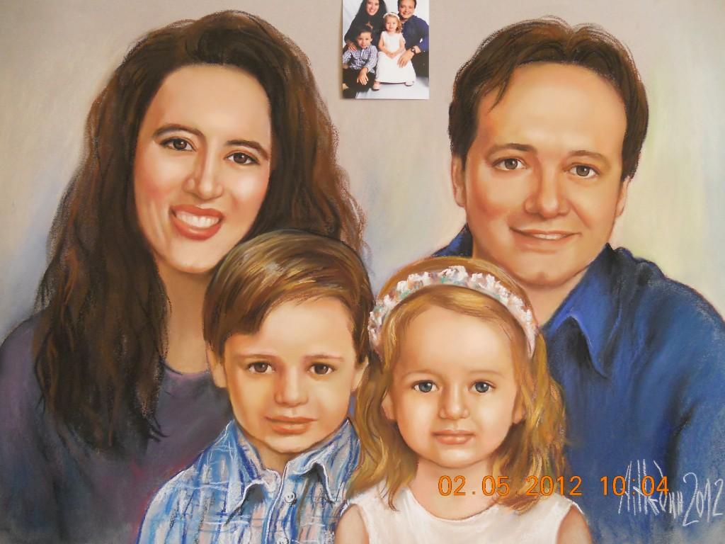 Семеен Портрет по Поръчка Рисуван по Снимка