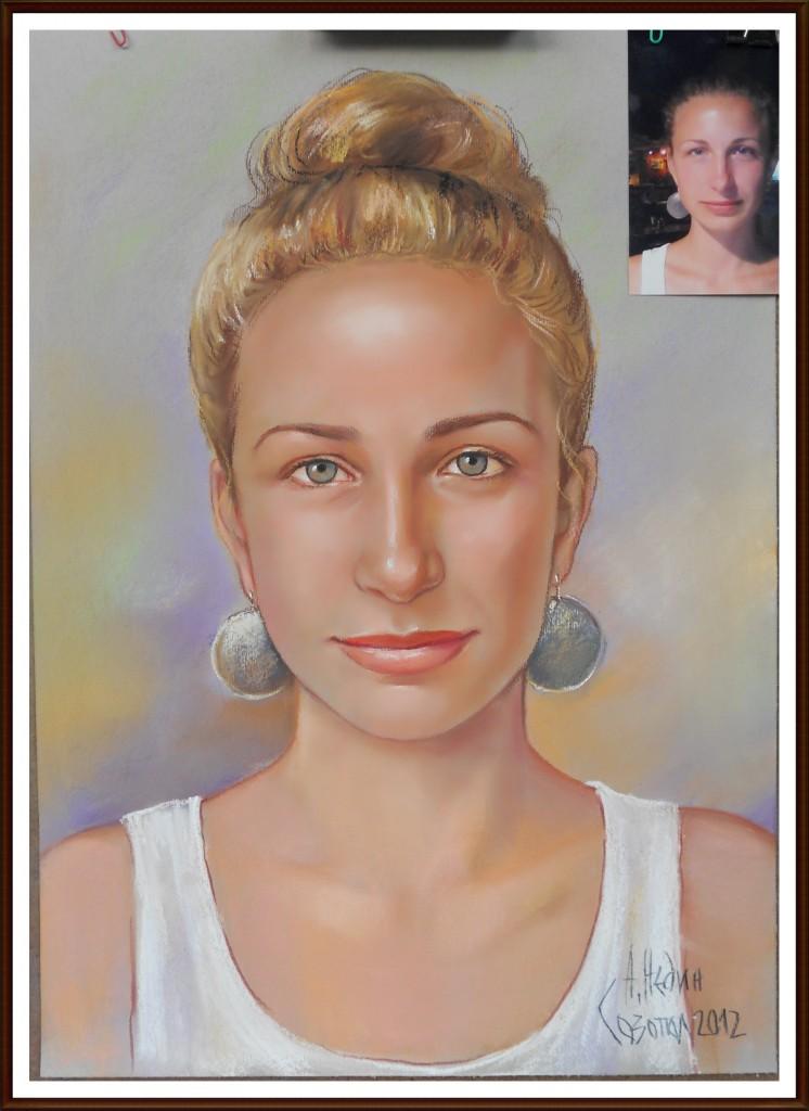 Портрет на Момиче Рисуван по Снимка за Свети Валентин